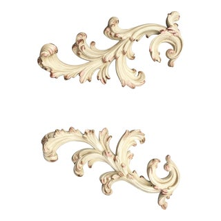 Fleur De Lis Style Ceramic Wall Candle Holders - A Pair For Sale