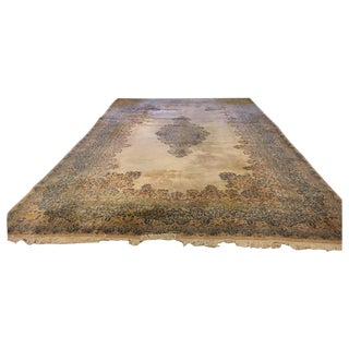 "Tan Medallion Kirman Carpet - 13' x 21'8"""