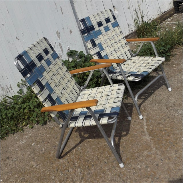 Vintage Aluminum Webbed Folding Lawn or Patio Chairs - A Pair - Image 3 of 9