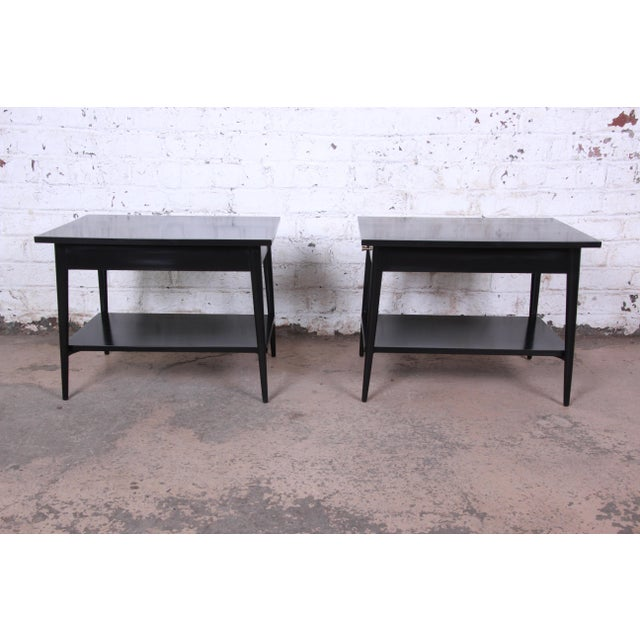 Paul McCobb Planner Group Ebonized Nightstands or End Tables, Pair For Sale - Image 10 of 13