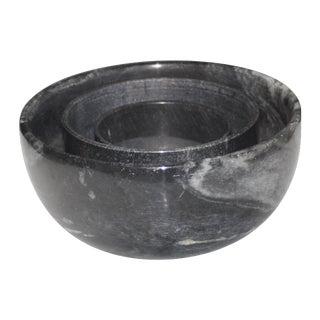 Black Marble Bowls - Set of 3