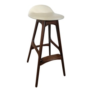 Mid-Century Modern Erik Buck Leather Stool For Sale