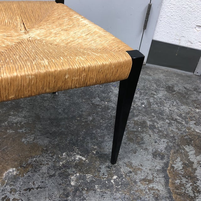 Black Mid-Century Italian Wood Ladder and Rushed Seat Chair For Sale - Image 8 of 10