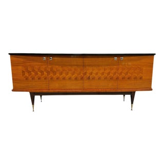 1940s French Art Deco Light Exotic Macassar Ebony Sideboard / Credenzas. For Sale
