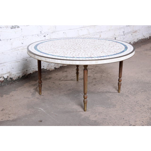 Italian Mid-Century Modern Mosaic Tile and Brass Cocktail Table, 1950s For Sale - Image 4 of 10