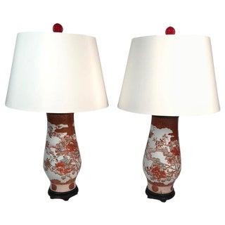 Antique Hand Painted Japanese Satsuma Porcelain Lamps - a Pair For Sale