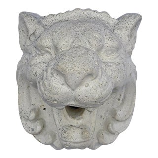 Vintage Lion Head Concrete Plaster Wall Fountain Plaque