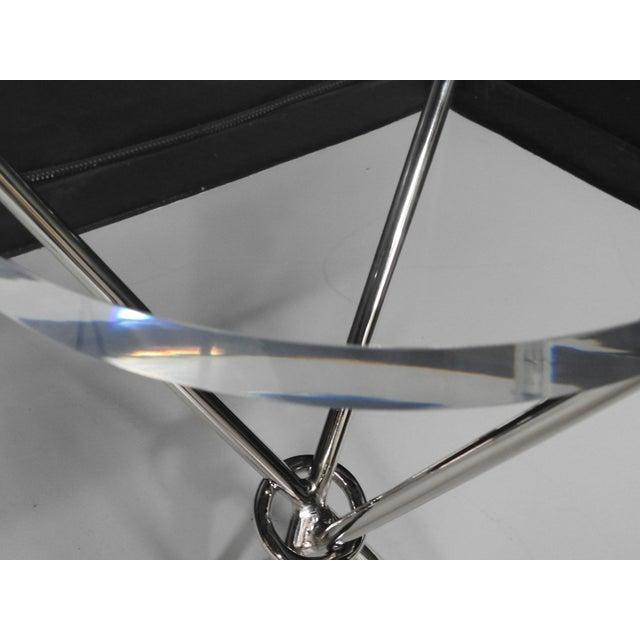 Campaign Campaign Style Chrome & Lucite Side Tables - A Pair For Sale - Image 3 of 5