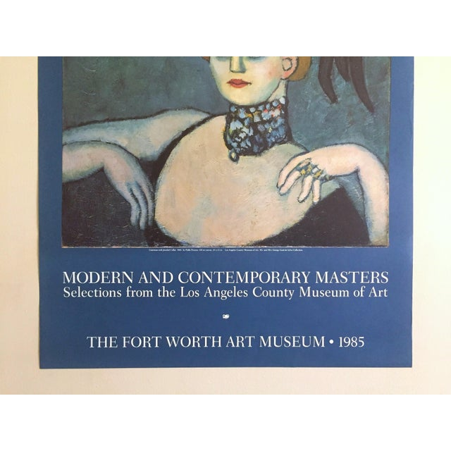 """Portraiture Pablo Picasso Vintage 1985 Lithograph Print Exhibition Poster """" Courtesan With Jeweled Collar """" 1901 For Sale - Image 3 of 13"""