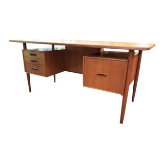 Mid-Century Modern Floating Teak Partner's Style Desk With File Drawer & Cubbies For Sale