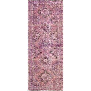 Mid-20th Century Vintage Overdyed Wool Runner Wool Rug For Sale