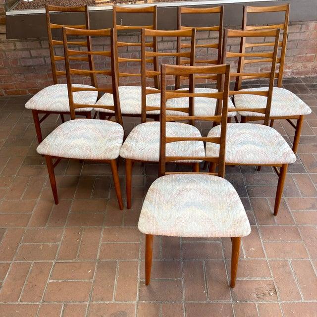 Mid-Century Modern Danish Modern Koefoeds Hornslet Teak Ladder-Back Dining Chairs - Set of 8 For Sale - Image 3 of 13