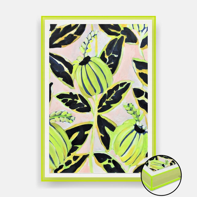 Contemporary Coco Plum by Lulu DK in Neon Green Acrylic Shadowbox, Medium Art Print For Sale - Image 3 of 3