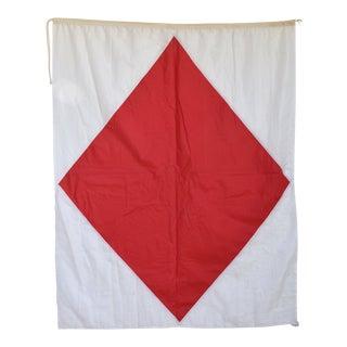 "Vintage Maritime Nautical Naval Signal ""F"" Flag - 69"" X 52"""
