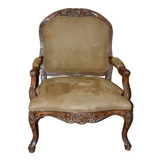 Kreiss Provincial Louis XV-Style Suede Leather Armchair For Sale