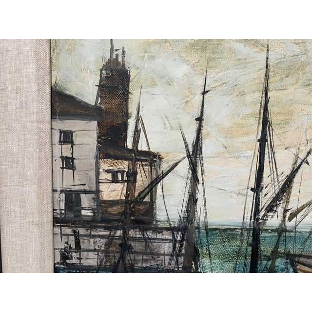 Mid-Century Modern Charles Levier Painting of French Port Scene With Boats For Sale - Image 9 of 12