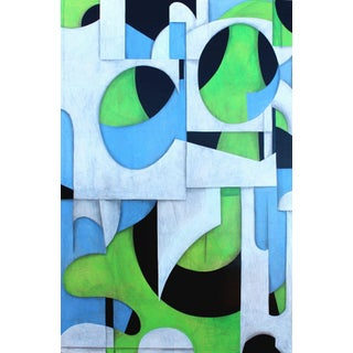 Original Painting Acrylic Over Paper on Birch Panel 44 X 66 For Sale