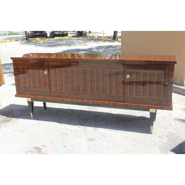 Brass Classic French Art Deco Macassar Ebony Sideboard / Credenza / Buffet Circa 1940s For Sale - Image 7 of 13