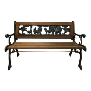Child's Cast Iron Garden Decorative Bench with Animal Design For Sale