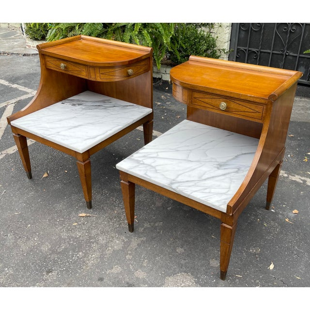 Sienna Grosfeld House Hollywood Regency Mid Century Modern Empire Walnut & Marble End Tables - a Pair For Sale - Image 8 of 8