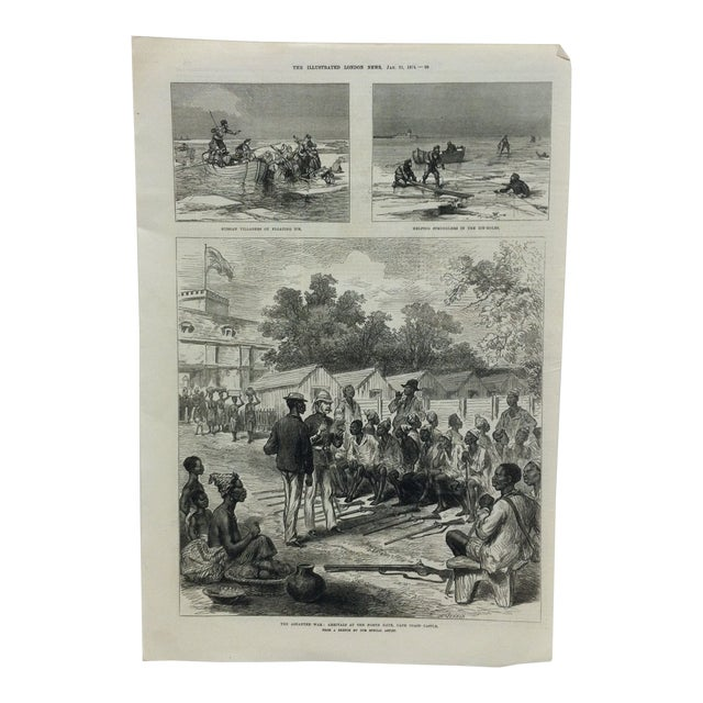 "1874 Antique Illustrated London News ""The Ashantee War: Arrivals at the North Gate - Cape Coast Castle"" Print For Sale"