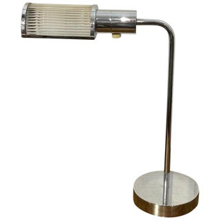 Casella Polished Chrome and Glass Rod Desk Lamp For Sale
