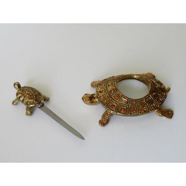Greek Key Gilt Brass Bejeweled Turtle Lidded Keepsake Box, Letter Opener & Magnifier Set in One - 3 Pieces For Sale - Image 9 of 13