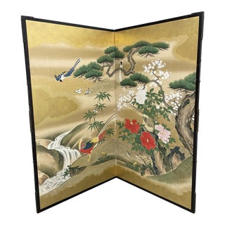 "Late 18th Century Byobu ""Spring Stream"" Two Panel Japanese Screen For Sale"