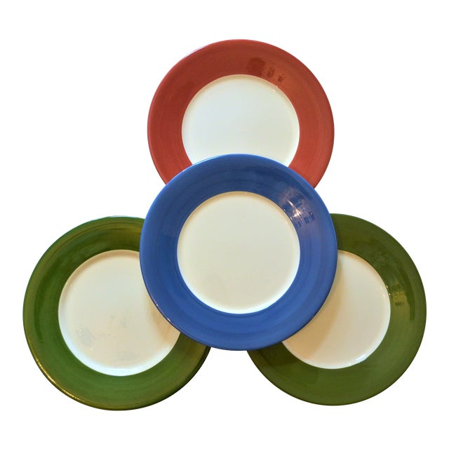 Vintage French Gien Chop House Charger Plates - Set of 4 For Sale