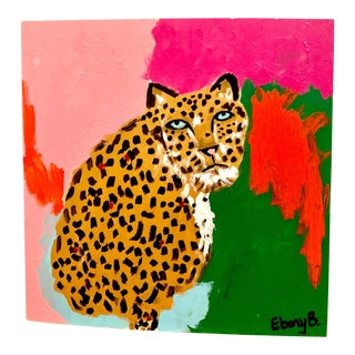 """Abstract Leopard Painting, """"Here Kitty Kitty"""" For Sale"""
