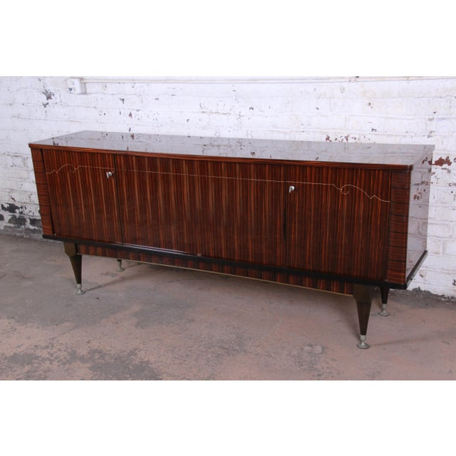 Art Deco French Art Deco Macassar Ebony Credenza or Bar Cabinet by N.F. Ameublement, 1966 For Sale - Image 3 of 13