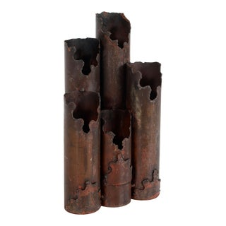 Mid Century Modern Brutalist Torch Cut Steel Candle Holder Candelabra For Sale
