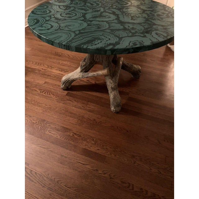 Faux Malachite Hand Painted Table Top For Sale - Image 4 of 6