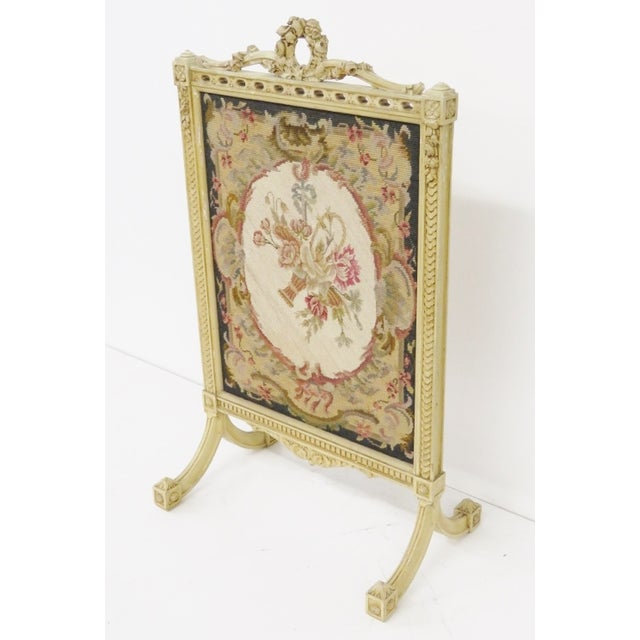 Floral Needlepoint Fire Screen - Image 3 of 6