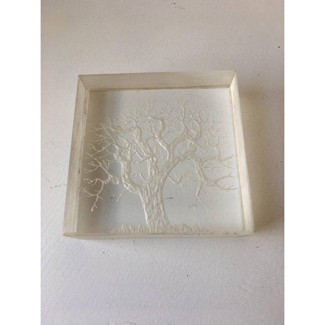 Mid-Century Hand Etched Acrylic Cube For Sale - Image 5 of 6