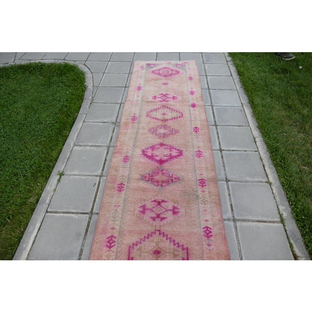 1970s Vintage Turkish Kurdish Pink Runner- 2′8″ × 12′5″ For Sale In Seattle - Image 6 of 11