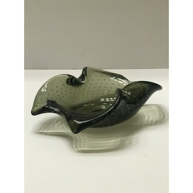 Contemporary Italian 1950's Murano Glass Bowl With Organic Form and Controlled Bubbles For Sale - Image 3 of 13