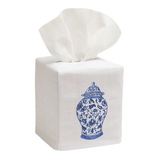 Wide Ginger Jar Tissue Box Cover White Linen & Cotton, Embroidered For Sale