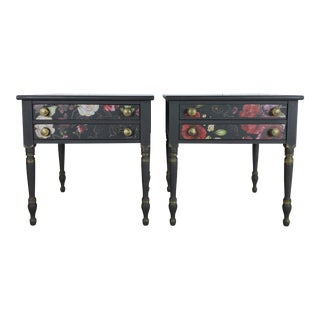 Hitchcock Black and Floral Side Tables/End Tables Nightstands - a Pair For Sale