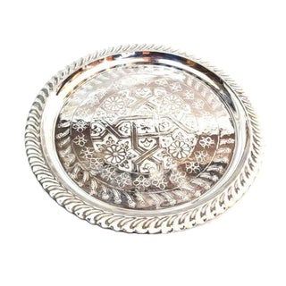 Silver Handmade Moroccan Tray For Sale