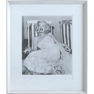 Marilyn Monroe on a Deck Chair Shot by Frank Worth in Los Angeles C1955 Numbered For Sale