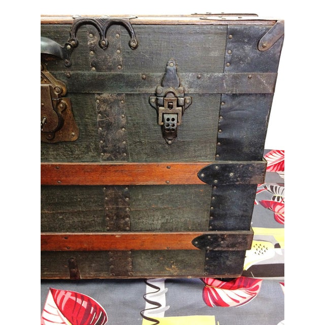 Antique Wood Steamer Trunk with Key - Image 3 of 10