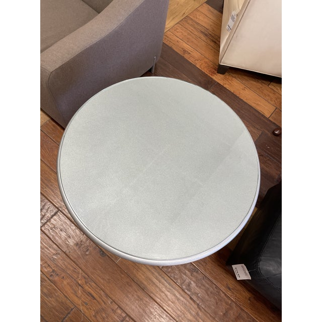 Nordstroms Silver Finish Pedestal Side Table + Glass Top For Sale In San Francisco - Image 6 of 10
