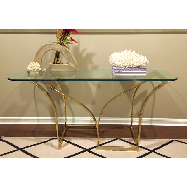 Vintage 1970s Brass & Glass Console Table - Image 5 of 9