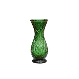 Cut Glass Emerald Green Flower Vase For Sale