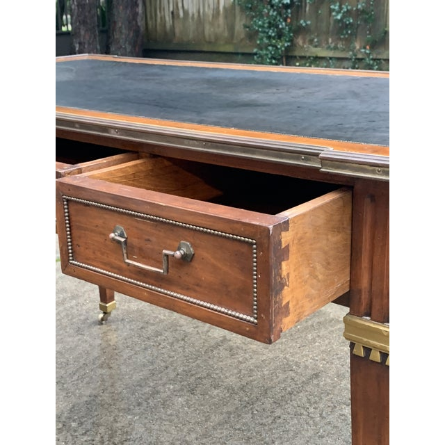 Metal Directoire Style Writing Desk With Leather Top For Sale - Image 7 of 11