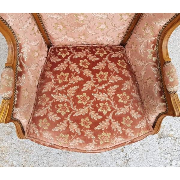Pink Three Piece French Antique Louis XV Style Carved Parlor Suite Sofa Canape Loveseat For Sale - Image 12 of 13