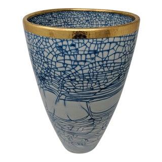Italian Blue& White Crackled Vase For Sale