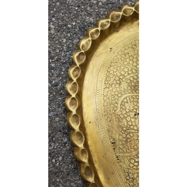 Vintage Moroccan Brass Oval Tray/Table Top For Sale - Image 4 of 5
