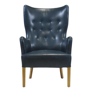 Ole Wanscher Highback Chair for Fritz Hansen 1946 in Teal Leather For Sale